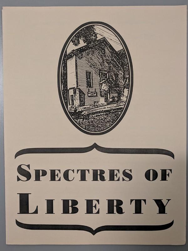 Photo of artist book Spectres of Liberty by Olivia Robinson, Dora Greenwald, and Josh MacPhee