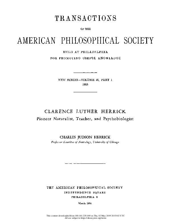 Clarence Luther Herrick: Pioneer Naturalist, Teacher, and Psychobiologist link
