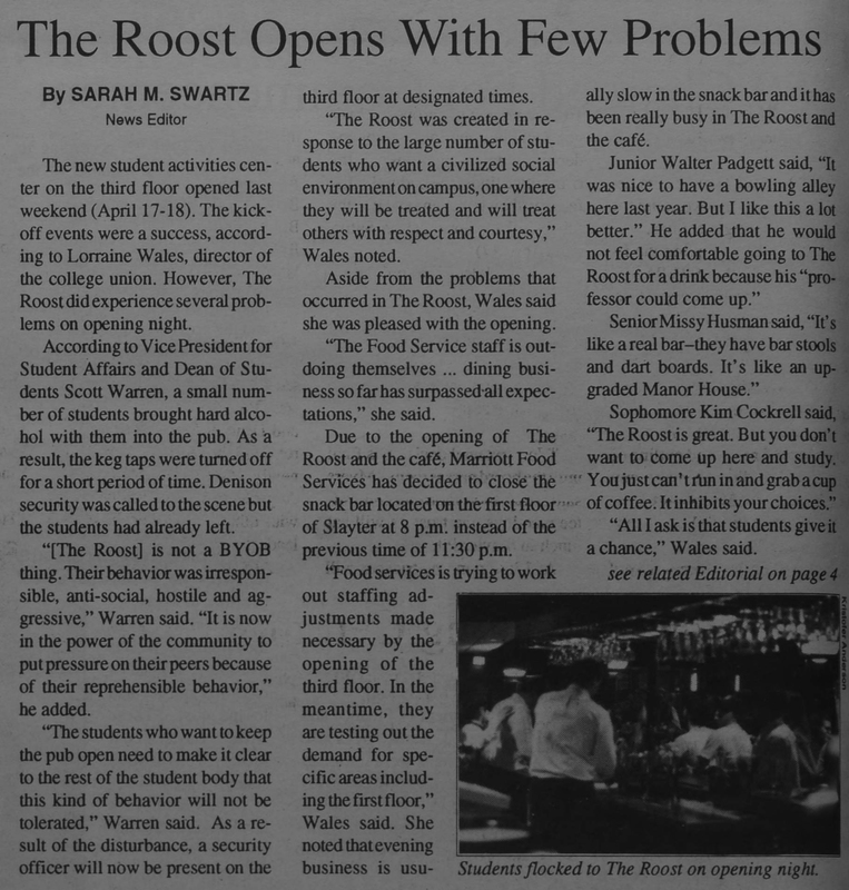 Roost Opening Denisonian