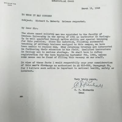 Dean Richards' Letters