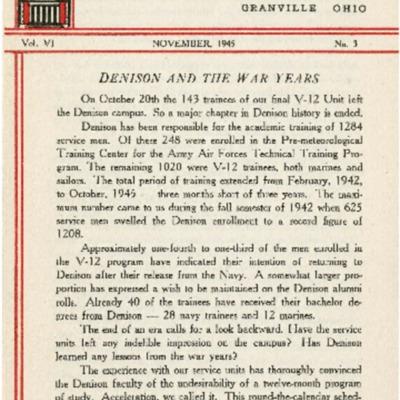 At Denison: November 1945