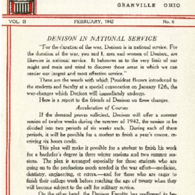 At Denison: February 1942