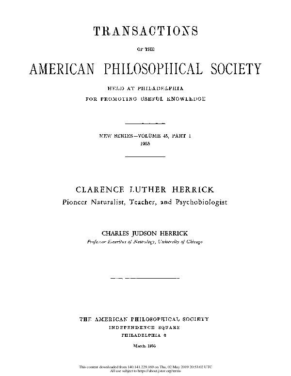 Clarence Luther Herrick: Pioneer Naturalist, Teacher, and Psychobiologist link