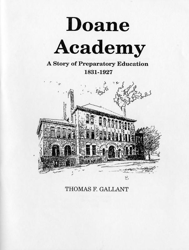 Doane Academy: A Story of Preparatory Education 1831-1927 (cover)