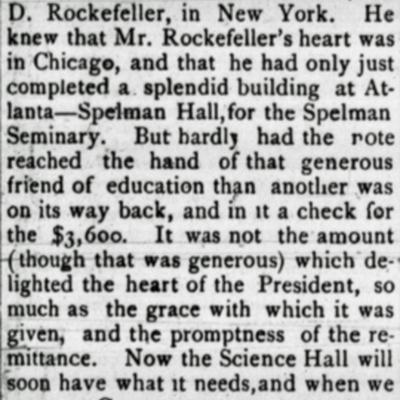 Rockefeller Gift clipping