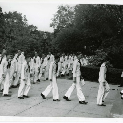 V-12 Unit Marching to Recognition Service, June 18, 1945
