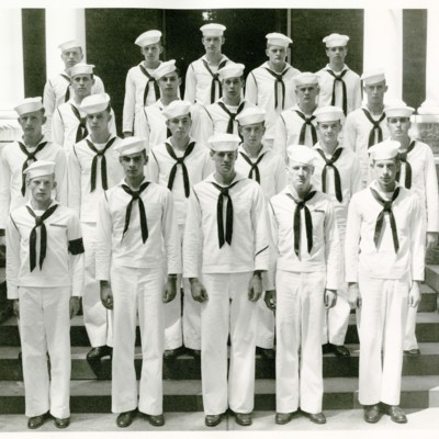 V-12 Navy Trainees Company F, 2nd Platoon in Front of Stone Hall, 1945