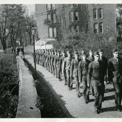 V-12 Marines Marching on Chapel Walk, 1943 (Talbot Hall in Background)