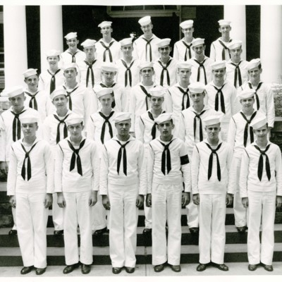 V-12 Navy Trainees Company D, 2nd Platoon in Front of Stone Hall, 1945