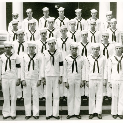 V-12 Navy Trainees Company F, 1st Platoon in Front of Stone Hall, 1945