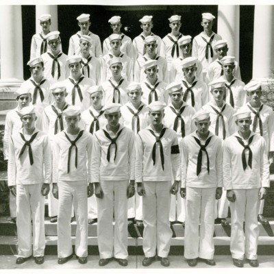 V-12 Navy Trainees Company C, 2nd Platoon in Front of Stone Hall, 1945
