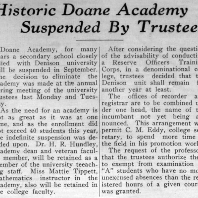 Doane Academy Closed