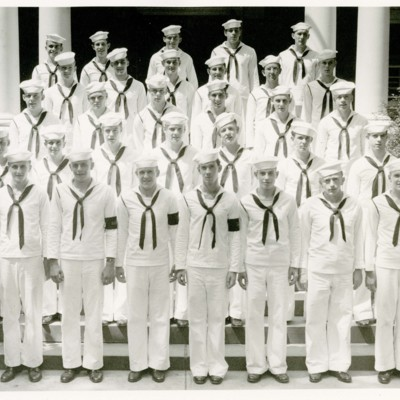 V-12 Navy Trainees Company C, 1st Platoon in Front of Stone Hall, 1945