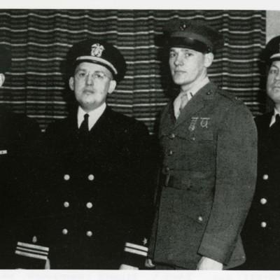 V-12 Naval Commission Officers Daniels, Browne, Christenson, and Wilhelm (L-R)