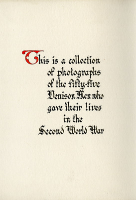 """""""In Memory of Those Denison Men Who Gave Their Lives to Our Country, 1941-1945"""" album insert"""